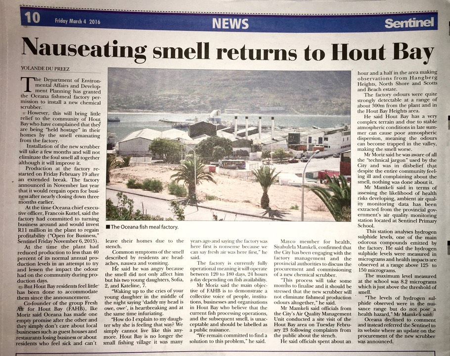 Nauseating smell returns to Hout Bay fishmeal factory Oceana Lucky Star Sentinel 04032016